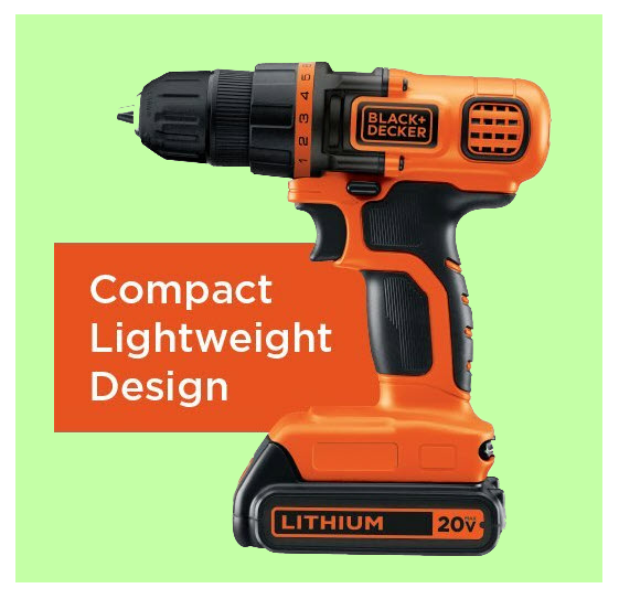 Black & Decker 20 volt power drill shown on www.ladiestoolkit.com