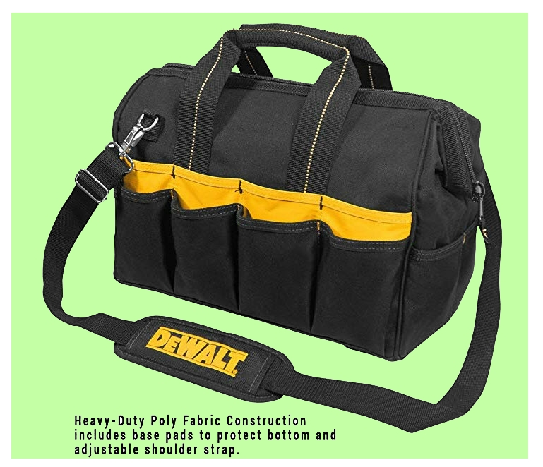 DeWalt tool bag with central compartment and pockets. From www.LadiesToolKit.com