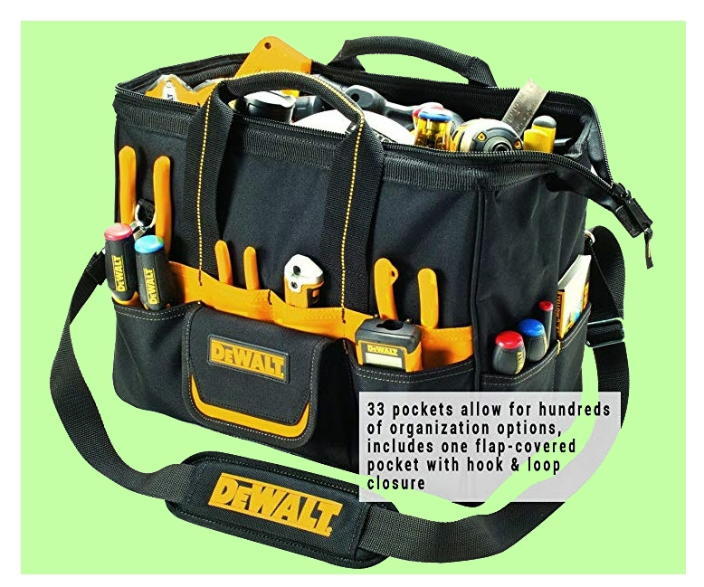 DeWalt tool bag with pockets and central compartment. From www.LadiesToolKit.com
