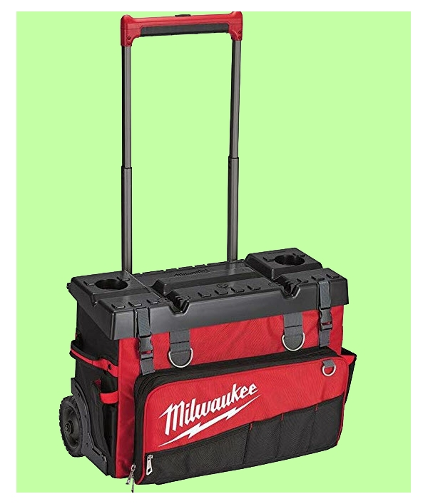 Hard top, wheeled tool bag with handle. From www.LadiesToolKit.com