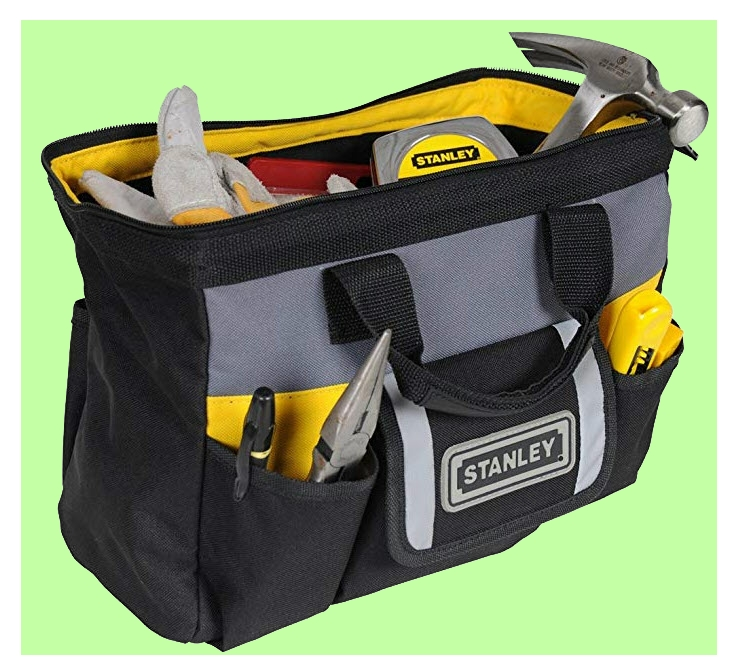 Stanley tool bag with large main compartment and side pockets from www.LadiesToolKit.com